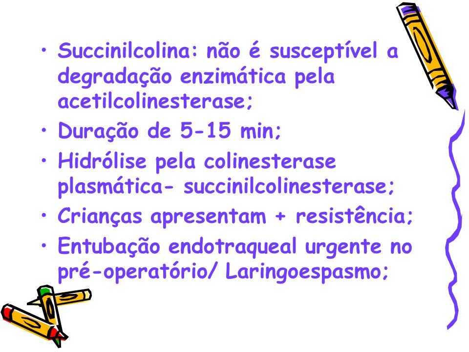 Succinilcolina: não é susceptível a degradação enzimática pela acetilcolinesterase;