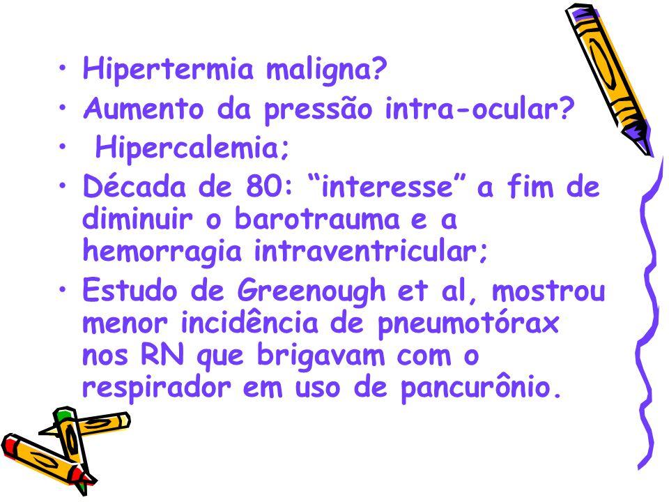 Hipertermia maligna Aumento da pressão intra-ocular Hipercalemia;