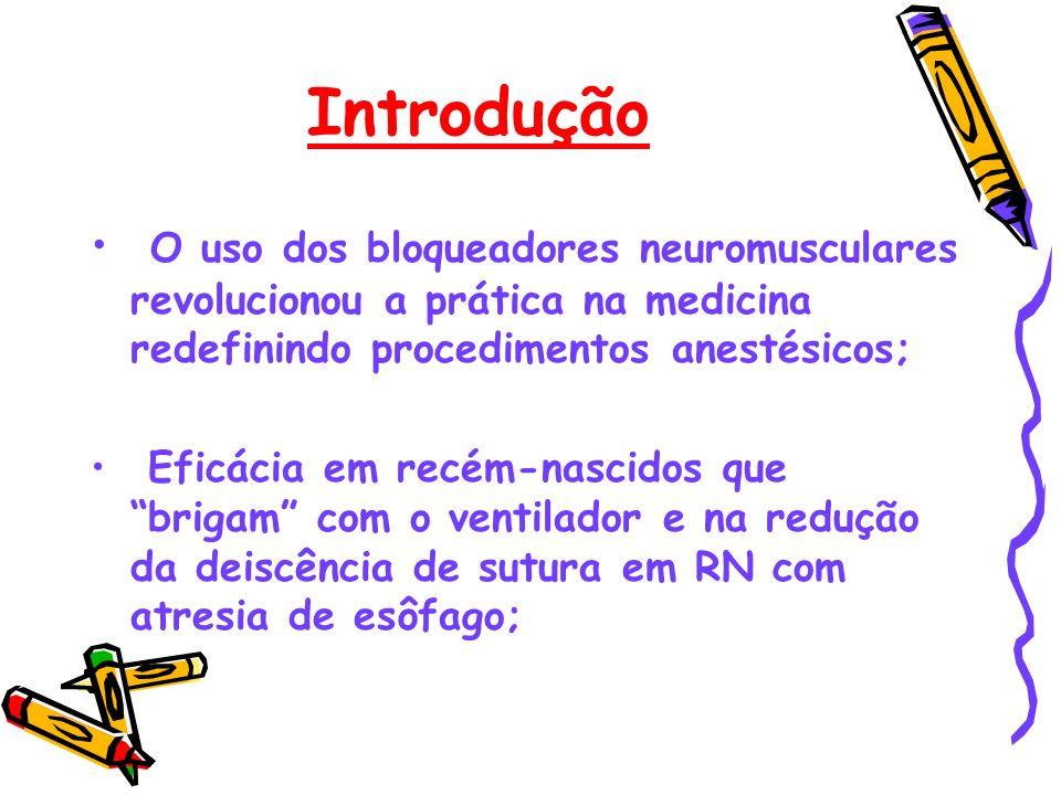 Introdução O uso dos bloqueadores neuromusculares revolucionou a prática na medicina redefinindo procedimentos anestésicos;
