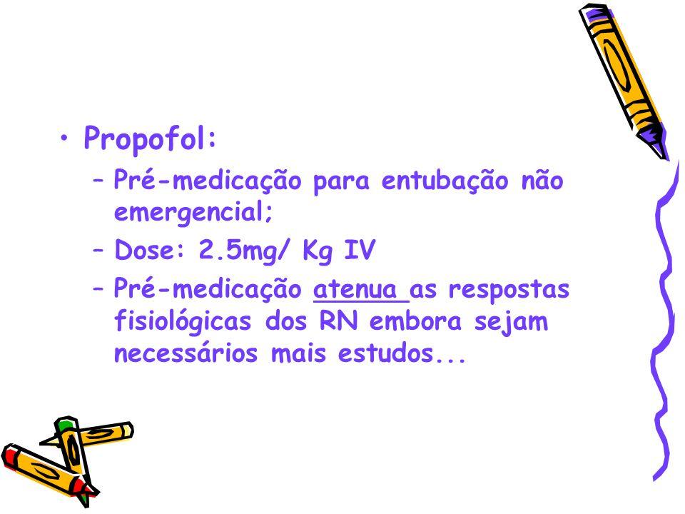 Propofol: Pré-medicação para entubação não emergencial;