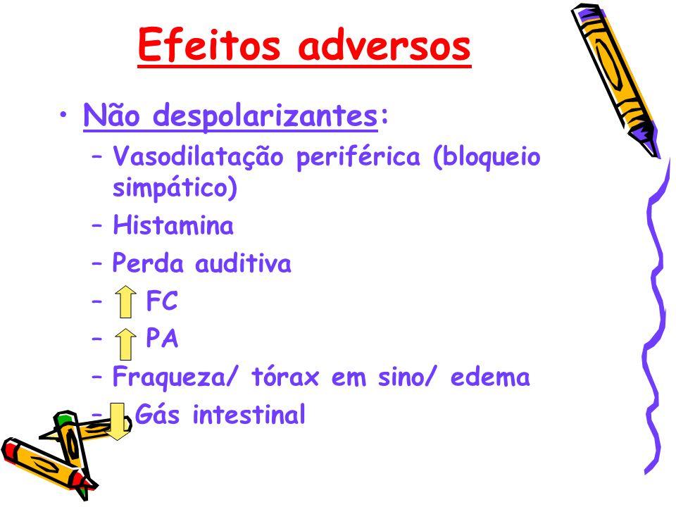 Efeitos adversos Não despolarizantes: