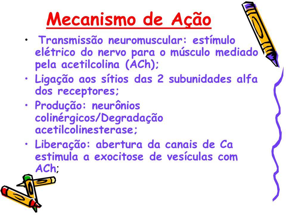 Mecanismo de Ação Transmissão neuromuscular: estímulo elétrico do nervo para o músculo mediado pela acetilcolina (ACh);