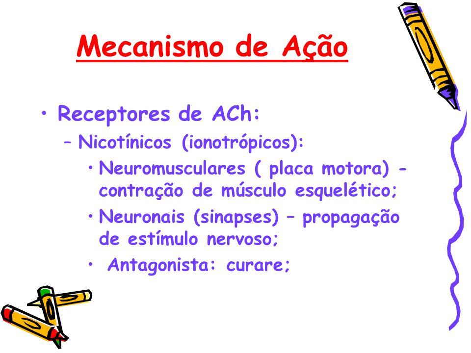 Mecanismo de Ação Receptores de ACh: Nicotínicos (ionotrópicos):