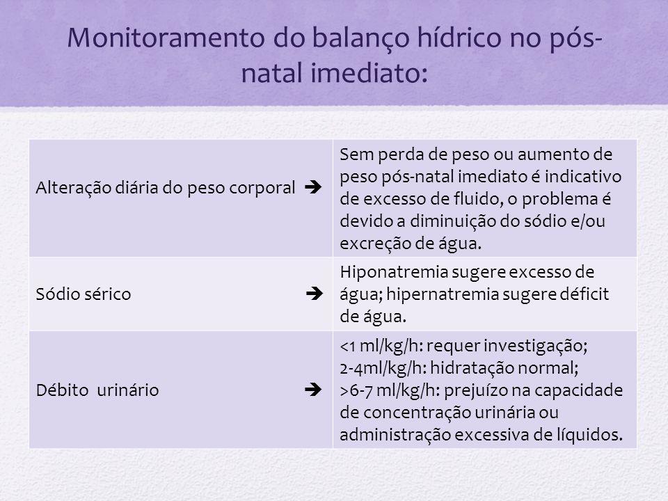 Monitoramento do balanço hídrico no pós-natal imediato: