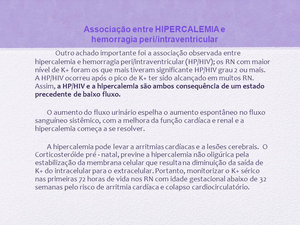 Associação entre HIPERCALEMIA e hemorragia peri/intraventricular
