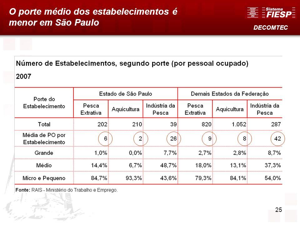 O porte médio dos estabelecimentos é menor em São Paulo