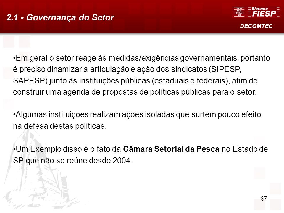 2.1 - Governança do Setor DECOMTEC.