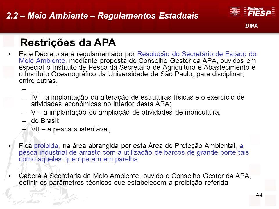 Restrições da APA 2.2 – Meio Ambiente – Regulamentos Estaduais