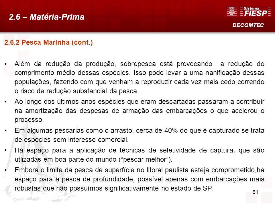 2.6 – Matéria-Prima 2.6.2 Pesca Marinha (cont.)