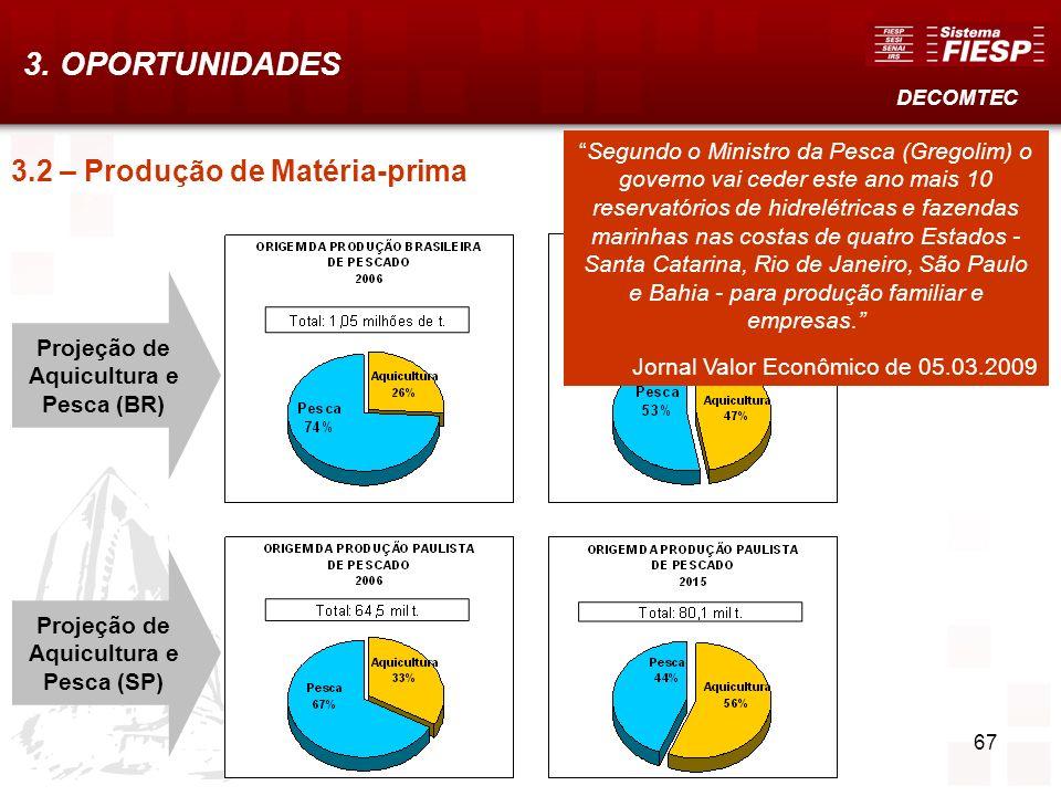 3. OPORTUNIDADES 3.2 – Produção de Matéria-prima