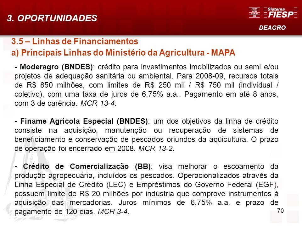 3. OPORTUNIDADES DEAGRO. 3.5 – Linhas de Financiamentos a) Principais Linhas do Ministério da Agricultura - MAPA.