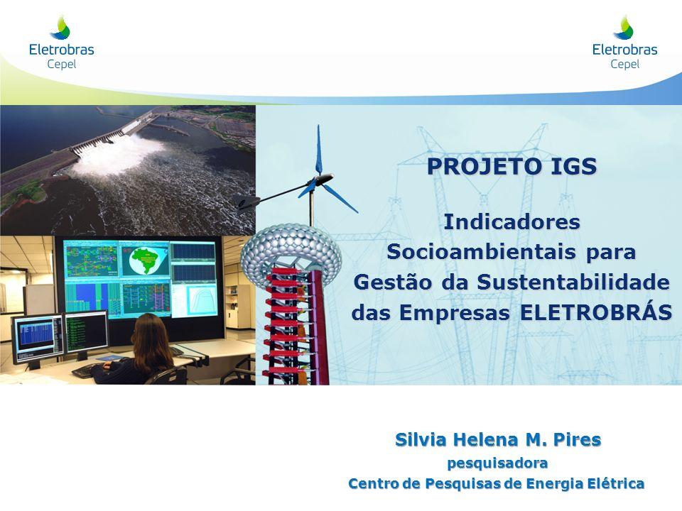 PROJETO IGS Indicadores Socioambientais para Gestão da Sustentabilidade. das Empresas ELETROBRÁS. Silvia Helena M. Pires.