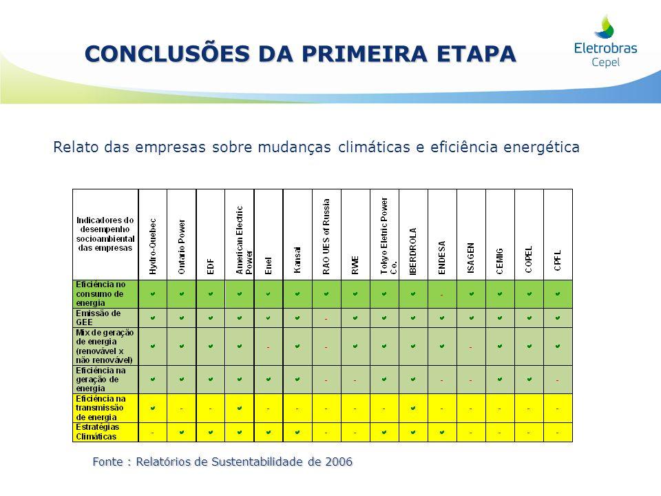 CONCLUSÕES DA PRIMEIRA ETAPA