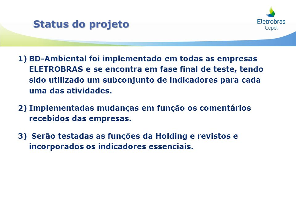 Status do projeto