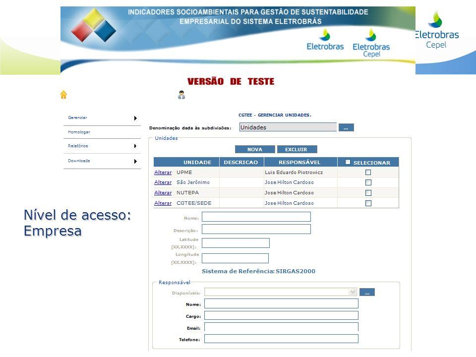 Nível de acesso: Empresa