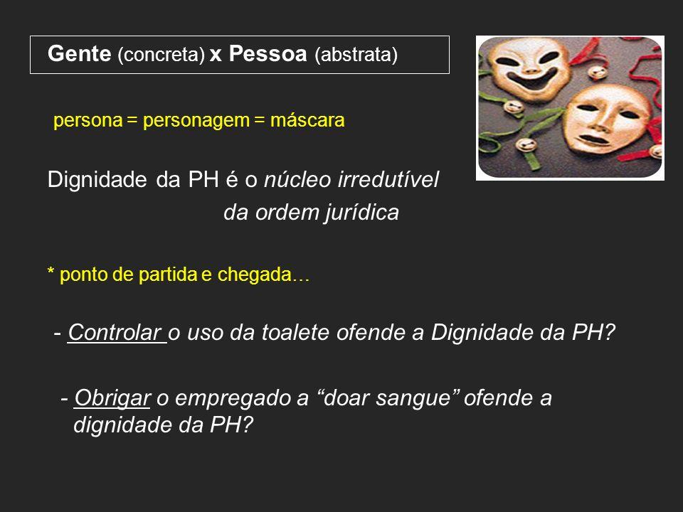 Gente (concreta) x Pessoa (abstrata) persona = personagem = máscara