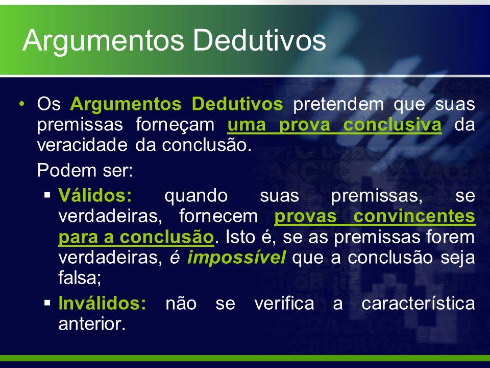 Argumentos DedutivosOs Argumentos Dedutivos pretendem que suas premissas forneçam uma prova conclusiva da veracidade da conclusão.