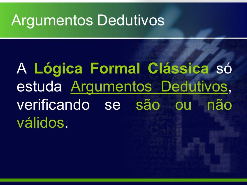 Argumentos DedutivosA Lógica Formal Clássica só estuda Argumentos Dedutivos, verificando se são ou não válidos.