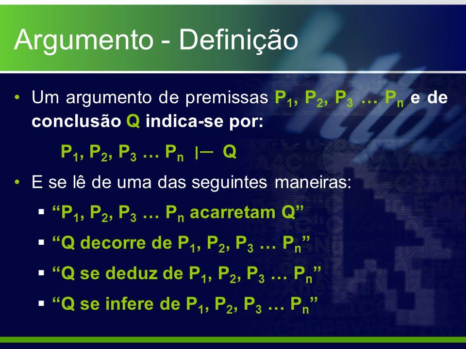 Argumento - Definição Um argumento de premissas P1, P2, P3 … Pn e de conclusão Q indica-se por: P1, P2, P3 … Pn ׀─ Q.