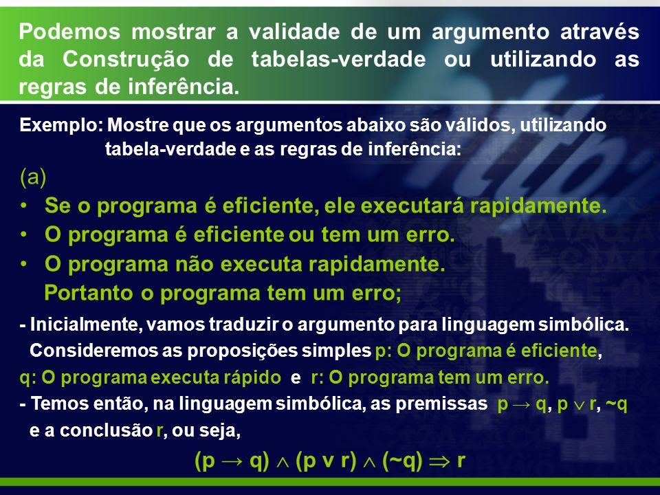 Podemos mostrar a validade de um argumento através da Construção de tabelas-verdade ou utilizando as regras de inferência.
