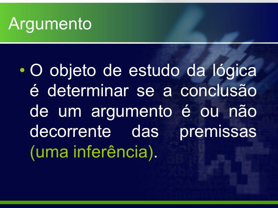 ArgumentoO objeto de estudo da lógica é determinar se a conclusão de um argumento é ou não decorrente das premissas (uma inferência).