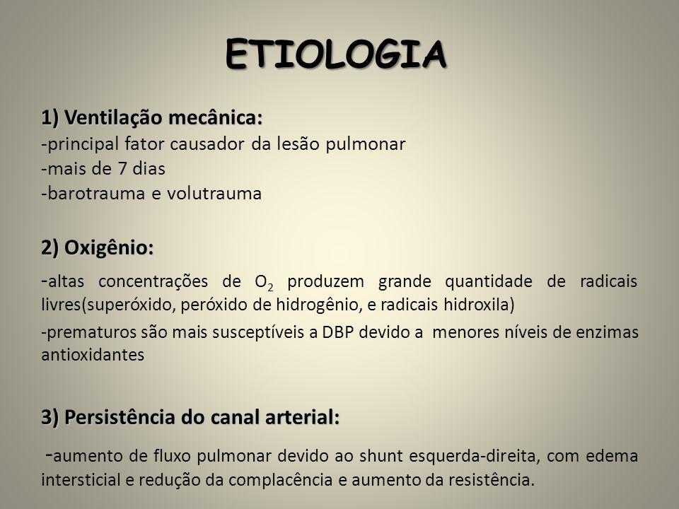 ETIOLOGIA 1) Ventilação mecânica: 2) Oxigênio: