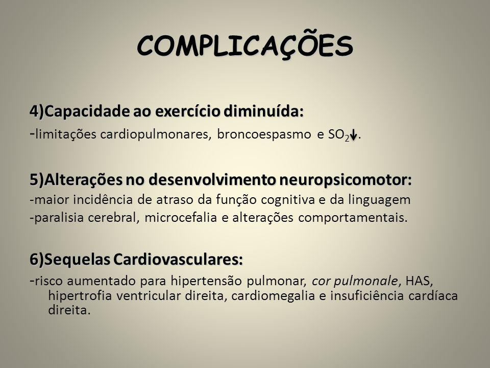 COMPLICAÇÕES -limitações cardiopulmonares, broncoespasmo e SO2 .