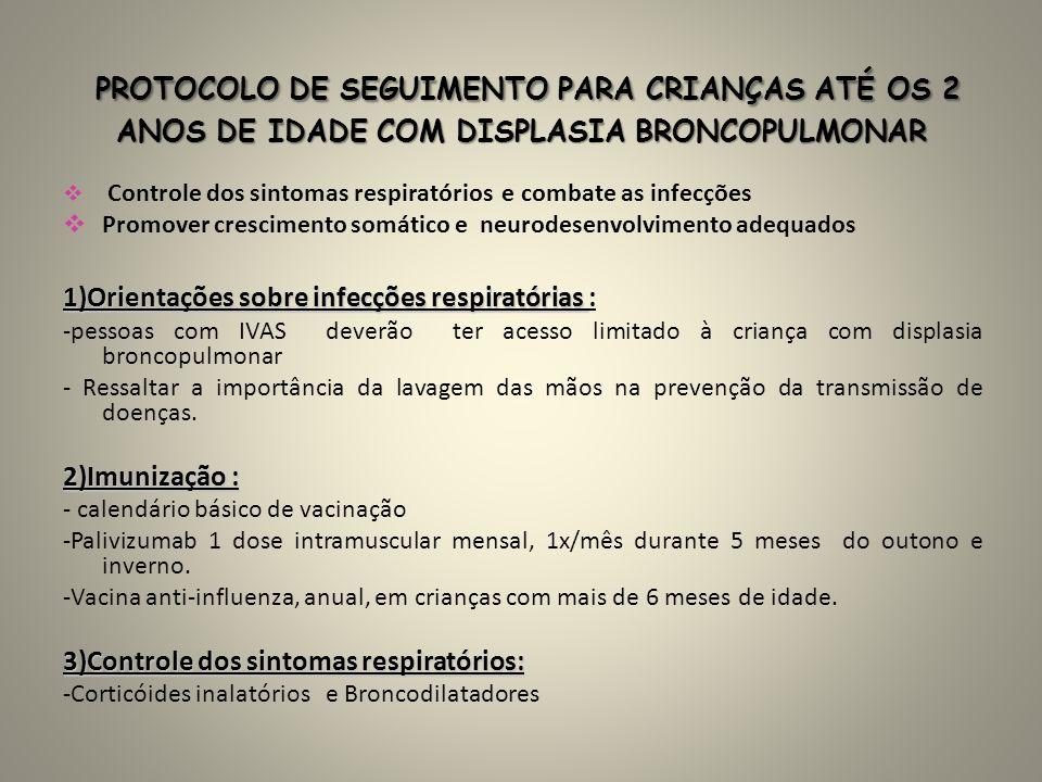 PROTOCOLO DE SEGUIMENTO PARA CRIANÇAS ATÉ OS 2 ANOS DE IDADE COM DISPLASIA BRONCOPULMONAR