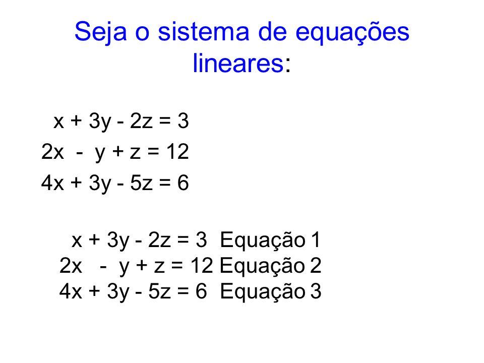 Seja o sistema de equações lineares: