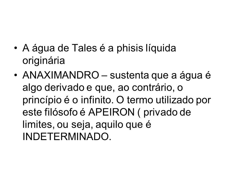 A água de Tales é a phisis líquida originária