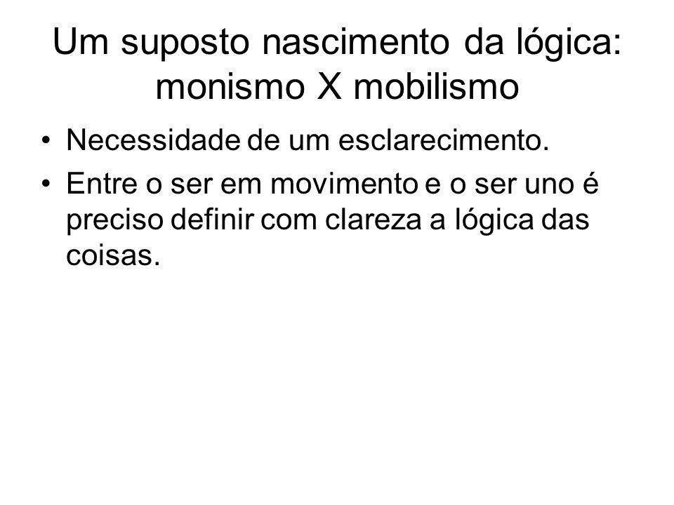 Um suposto nascimento da lógica: monismo X mobilismo