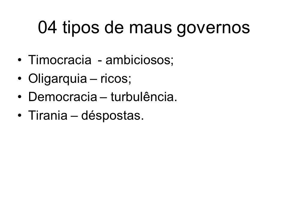 04 tipos de maus governos Timocracia - ambiciosos; Oligarquia – ricos;