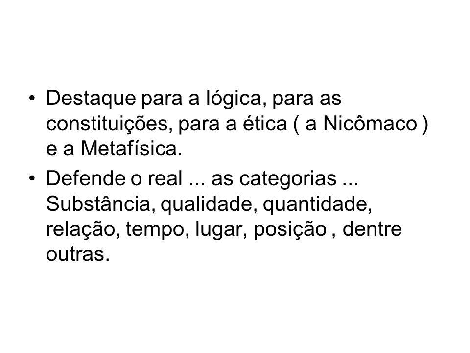 Destaque para a lógica, para as constituições, para a ética ( a Nicômaco ) e a Metafísica.