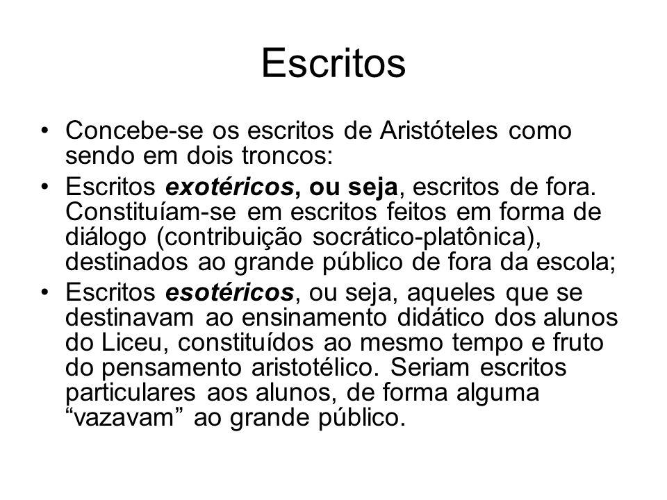 Escritos Concebe-se os escritos de Aristóteles como sendo em dois troncos: