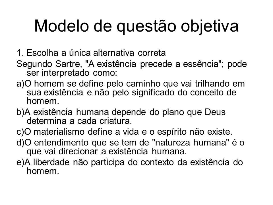 Modelo de questão objetiva