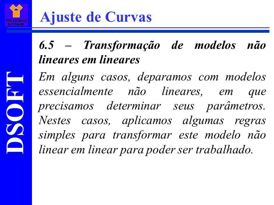 Ajuste de Curvas 6.5 – Transformação de modelos não lineares em lineares.