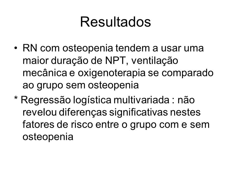 Resultados RN com osteopenia tendem a usar uma maior duração de NPT, ventilação mecânica e oxigenoterapia se comparado ao grupo sem osteopenia.