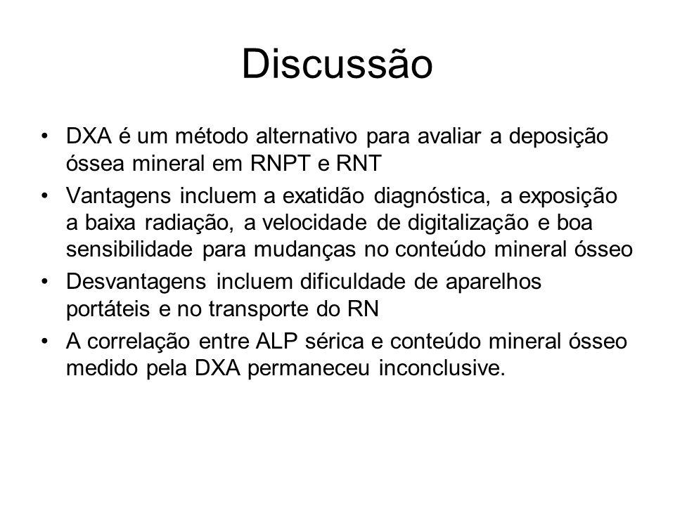 Discussão DXA é um método alternativo para avaliar a deposição óssea mineral em RNPT e RNT.