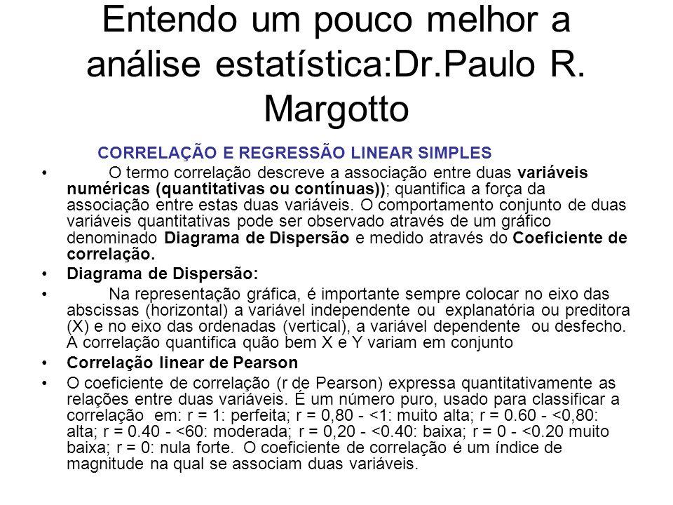 Entendo um pouco melhor a análise estatística:Dr.Paulo R. Margotto