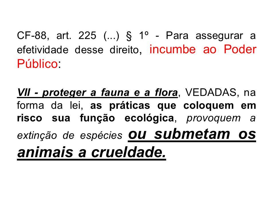 CF-88, art. 225 (...) § 1º - Para assegurar a efetividade desse direito, incumbe ao Poder Público: