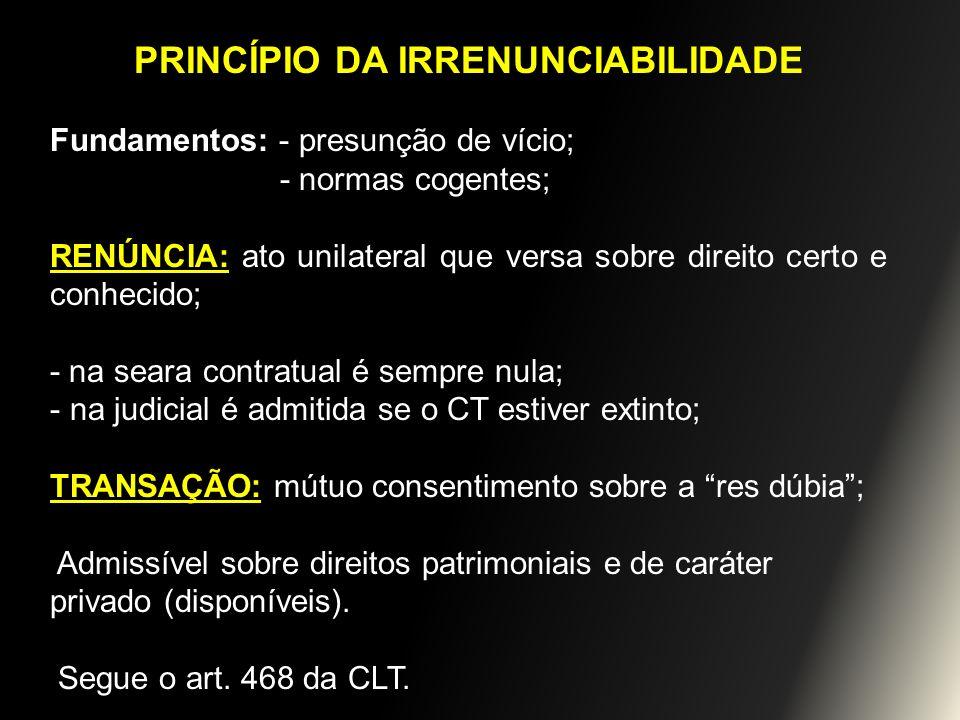 PRINCÍPIO DA IRRENUNCIABILIDADE