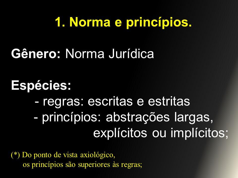 Gênero: Norma Jurídica Espécies: - regras: escritas e estritas