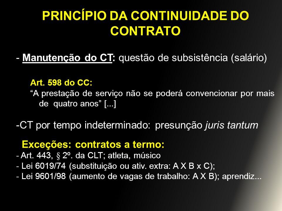 PRINCÍPIO DA CONTINUIDADE DO CONTRATO