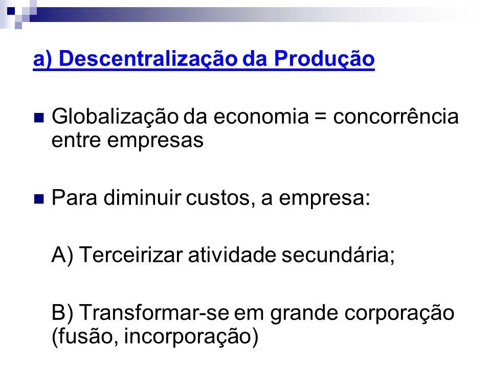 a) Descentralização da Produção