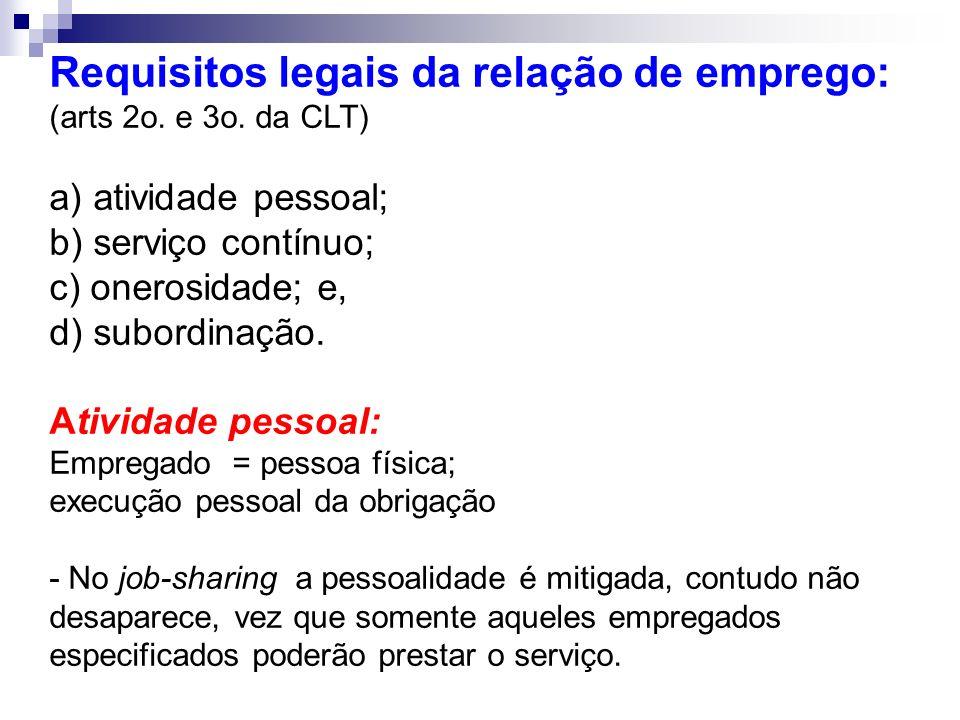 Requisitos legais da relação de emprego: (arts 2o. e 3o. da CLT)