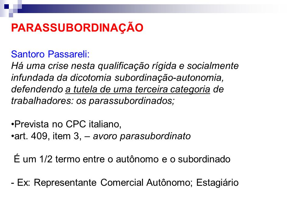 PARASSUBORDINAÇÃO Santoro Passareli: