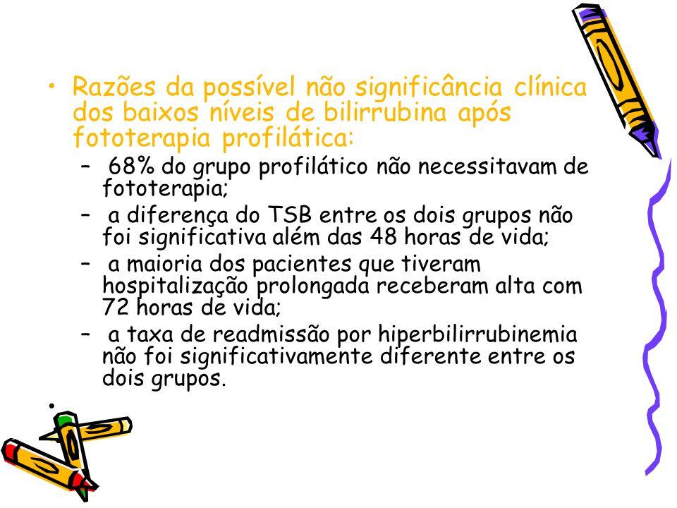 Razões da possível não significância clínica dos baixos níveis de bilirrubina após fototerapia profilática: