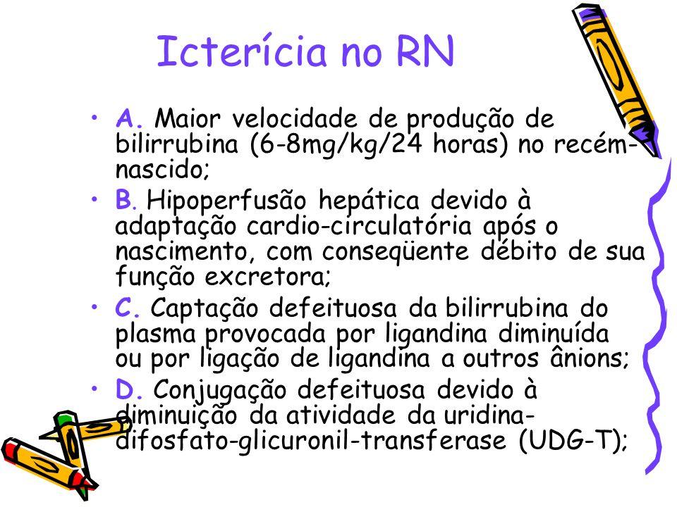 Icterícia no RNA. Maior velocidade de produção de bilirrubina (6-8mg/kg/24 horas) no recém-nascido;