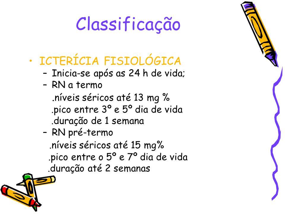 Classificação ICTERÍCIA FISIOLÓGICA .níveis séricos até 13 mg %
