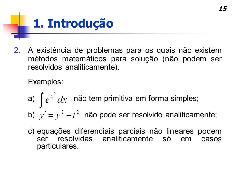 1. Introdução A existência de problemas para os quais não existem métodos matemáticos para solução (não podem ser resolvidos analiticamente).